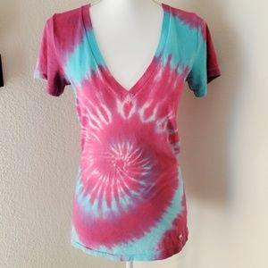 Victoria's Secret PINK V Neck Tie Dyed TShirt Sz S